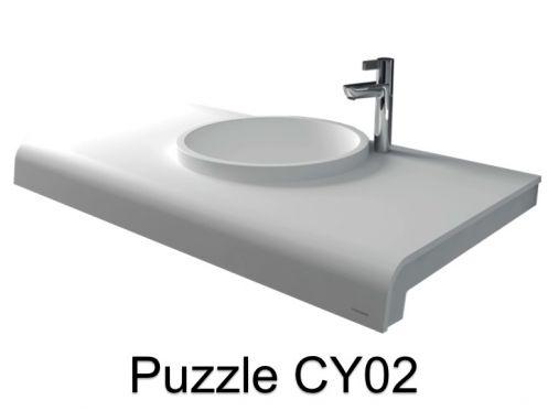 vasques largeur 80 plan vasque solid surface 80 x 50 cm en r sine puzzle acrymold cy0 blanc. Black Bedroom Furniture Sets. Home Design Ideas