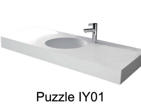 vasques largeur 70 plan vasque solid surface 70 x 50 cm en r sine puzzle acrymold iy01 blanc. Black Bedroom Furniture Sets. Home Design Ideas