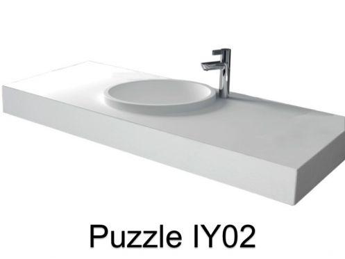 Vasques largeur 75 plan vasque solid surface 75 x 50 cm for Baignoire faible largeur