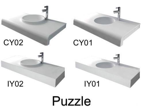 vasques largeur 110 plan vasque solid surface 110 x 50 cm en r sine puzzle acrymold blanc. Black Bedroom Furniture Sets. Home Design Ideas