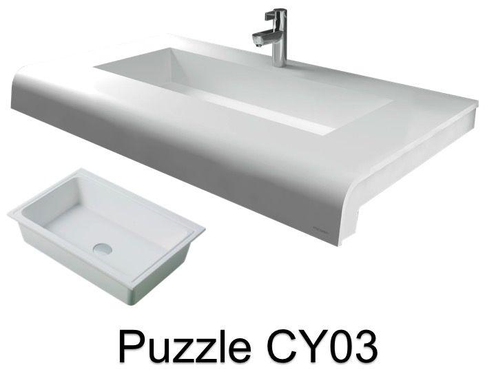 vasques largeur 120 plan vasque solid surface 120 x 50 cm en r sine puzzle acrymold cy03 blanc. Black Bedroom Furniture Sets. Home Design Ideas