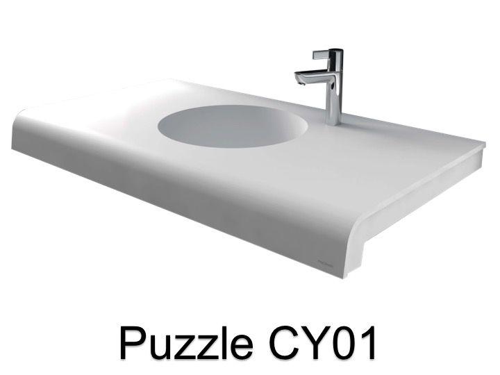 vasques largeur 120 plan vasque solid surface 120 x 50 cm en r sine puzzle acrymold blanc. Black Bedroom Furniture Sets. Home Design Ideas