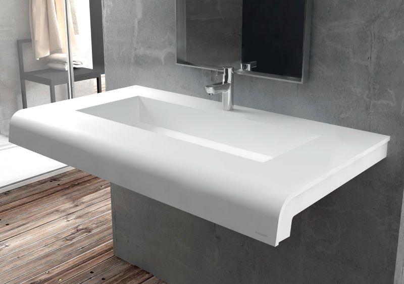 Vasques largeur 120 plan vasque solid surface 120 x 50 cm en r sine puzzle caniveau acrymold - Plan de travail 80 cm largeur ...