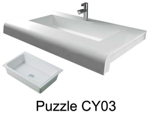 vasques largeur 170 plan vasque solid surface 170 x 50 cm en r sine puzzle acrymold cy03 blanc. Black Bedroom Furniture Sets. Home Design Ideas