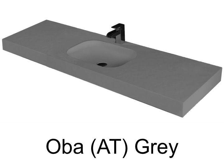 vasques largeur 70 plan vasque suspendue ou encastrer largeur 70 cm en r sine oba gris. Black Bedroom Furniture Sets. Home Design Ideas