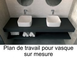 plan de travail sur mesure en r sine solid surface pour vasque de salle de bain poser. Black Bedroom Furniture Sets. Home Design Ideas