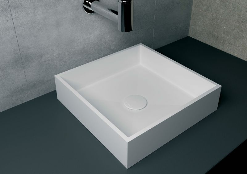 Vasques lavabo et vasque vasque 40x40 cm en r sine solid for Meuble 45x45