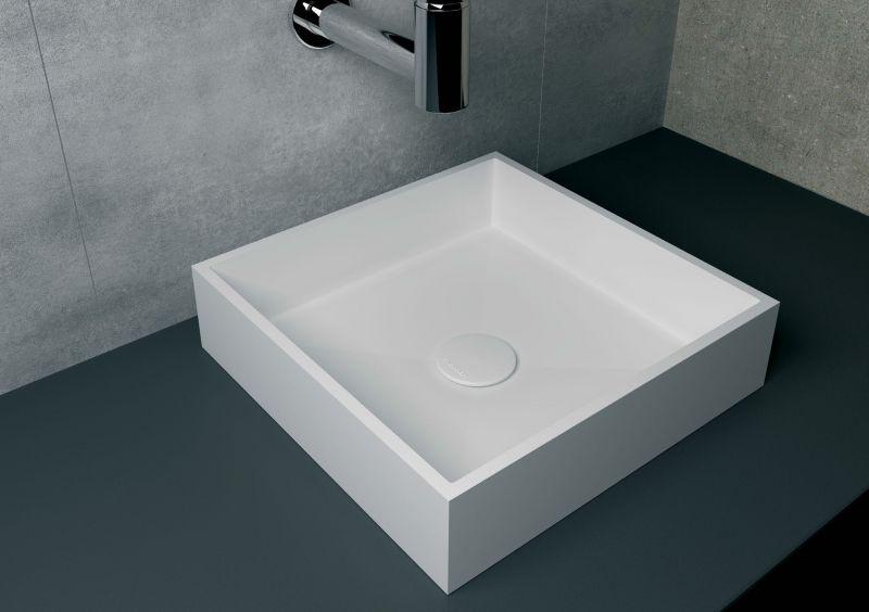 vasques plan vasque vasque 40x40 cm en r sine solid surface nicea blanc. Black Bedroom Furniture Sets. Home Design Ideas