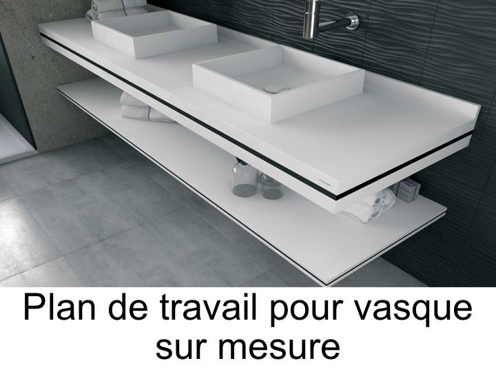 plan de travail sur mesure en solid surface pour vasque de salle de bain poser with plan de. Black Bedroom Furniture Sets. Home Design Ideas