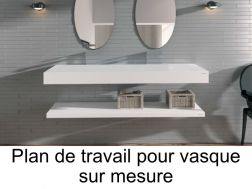 plan de travail sur mesure en r sine solid surface pour vasque de salle de bain poser. Black Bedroom Furniture Sets. Home Design Ideas