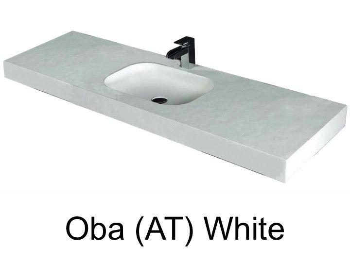 vasques largeur 200 plan vasque suspendue ou encastrer largeur 200 cm en r sine oba blanc. Black Bedroom Furniture Sets. Home Design Ideas