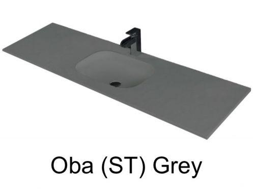 Vasques largeur 110 plan vasque suspendue ou encastrer largeur 110 cm en r sine oba sans - Vasque salle de bain 110 cm ...