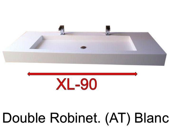 plan vasque suspendue ou encastrer double robinetterie largeur 210 cm en rsine xl - Largeur Salle De Bain