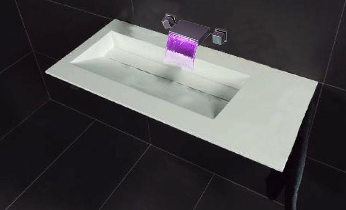 Vasques largeur 110 plan vasque suspendue ou encastrer largeur 110 cm en r sine cooper xl - Vasque salle de bain 110 cm ...