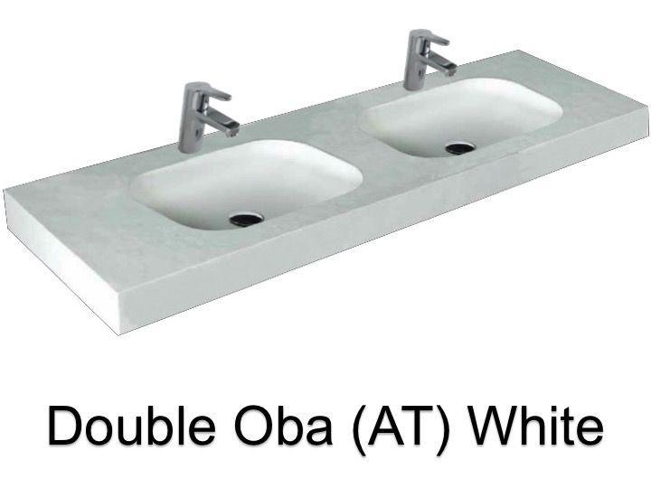 vasques largeur 140 plan double vasques suspendue ou encastrer largeur 140 cm en r sine. Black Bedroom Furniture Sets. Home Design Ideas