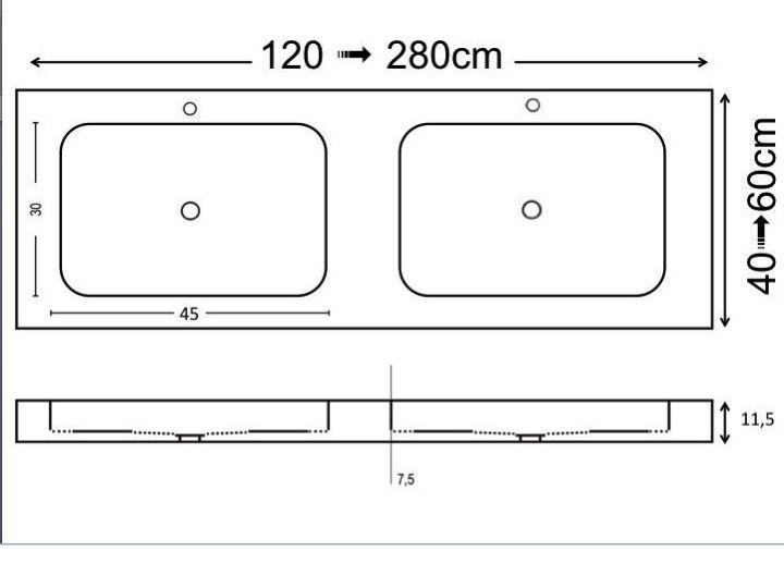 Vasques ur 200 Plan Double vasques suspendue ou  encastrer