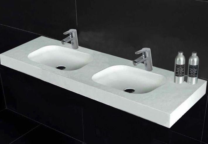 Vasques Largeur 200 Plan Double Vasques Suspendue Ou à Encastrer