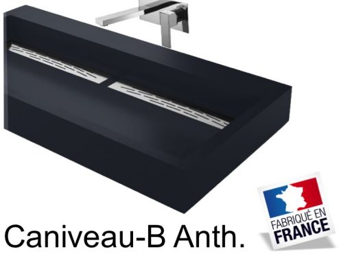 vasques largeur 140 double vasque suspendue ou poser largeur 140 cm en r sine. Black Bedroom Furniture Sets. Home Design Ideas