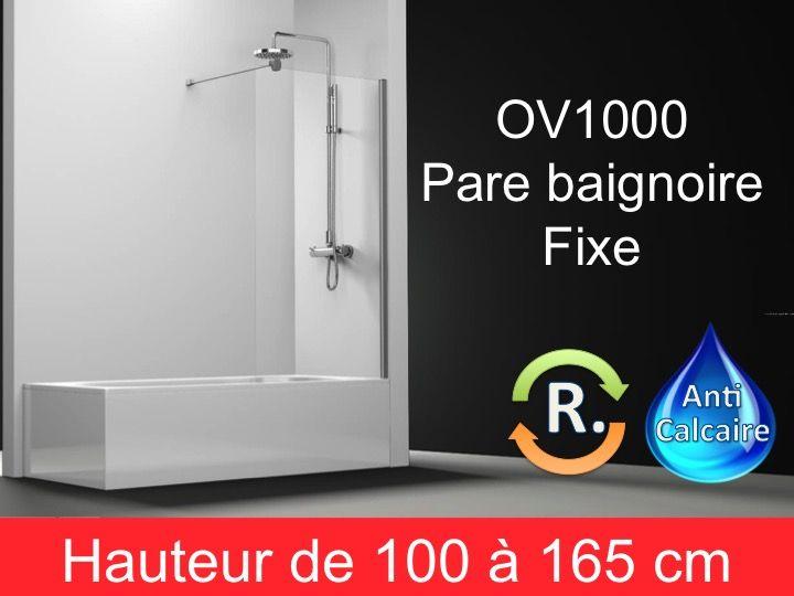paroi de douche longueur 70 pare baignoire panneau fixe 70 cm hauteur de 100 164 cm ov1000. Black Bedroom Furniture Sets. Home Design Ideas