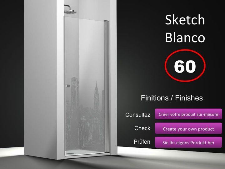 paroi de douche longueur 60 porte de douche pivotante 60 cm fixation droite hauteur de 180. Black Bedroom Furniture Sets. Home Design Ideas