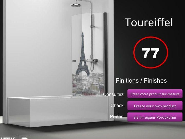 paroi de douche longueur 60 pare baignoire battant 60 cm fixation droite hauteur de 100. Black Bedroom Furniture Sets. Home Design Ideas
