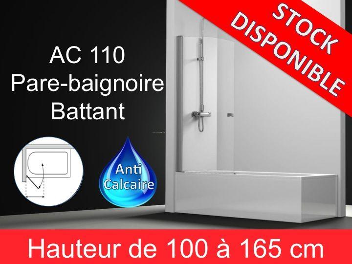 paroi de douche longueur 80 pare baignoire battant 80 cm fixation gauche hauteur de 100. Black Bedroom Furniture Sets. Home Design Ideas