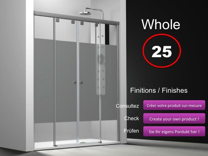 Paroi de douche longueur 170 paroi de douche 4 panneaux 2 portes centrales coulissantes 170 - Porte de service hauteur 180 ...