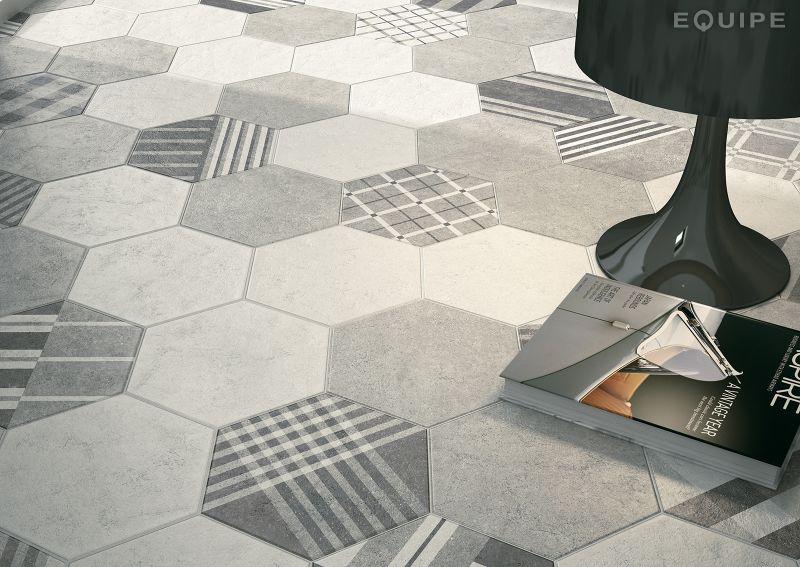 Carrelage sol et mur hexagonale sol art deco 2 hexagonal - Gres cerame imitation carreau de ciment ...