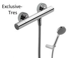 Mitigeur douche Douchette à main anticalcaire avec support orientable et flexible satin finition chrome, volant