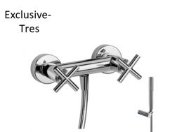 Mélangeur douche Douchette à main anticalcaire avec support orientable et flexible satin finition chrome,