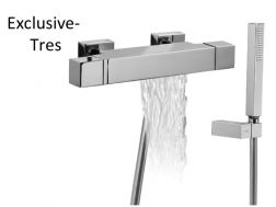 Bain-douche thermostatique avec cascade. Douchette à main anticalcaire avec support orientable et flexible satin finition chrome