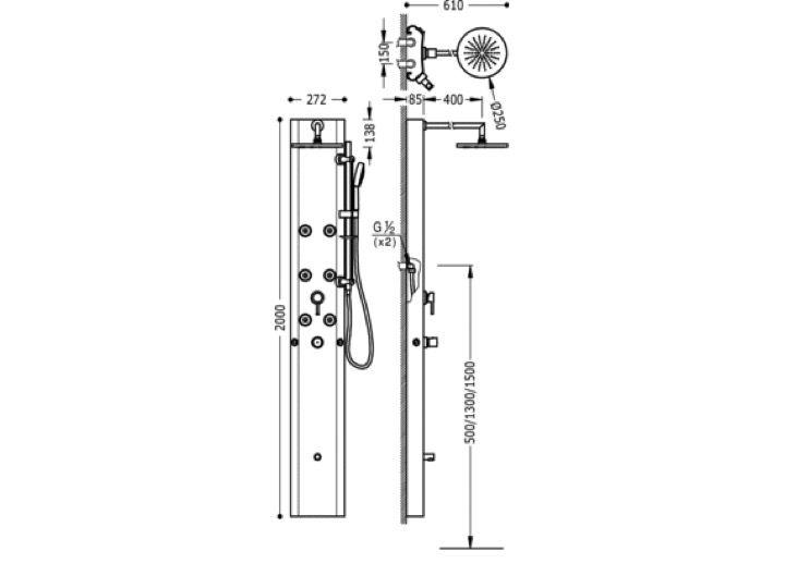 colonne de douche thermostatique avan tres douche fixe anticalcaire de 250 mm douchette. Black Bedroom Furniture Sets. Home Design Ideas
