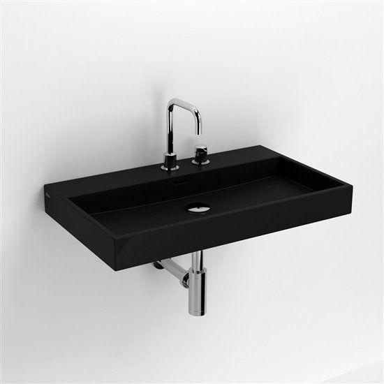 meubles lave mains robinetteries lavabo et vasque lavabo 70 cm washme c ramique noir mat. Black Bedroom Furniture Sets. Home Design Ideas