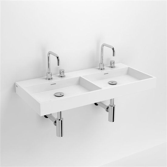 Vasques corian type lavabo double 90 cm washme r sine for Lavabo de cuisine double