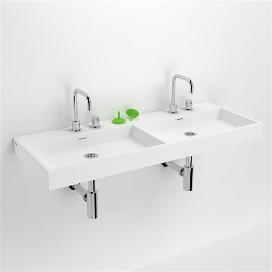 vasques corian type lavabo double 110 cm washme r sine min ral blanc. Black Bedroom Furniture Sets. Home Design Ideas