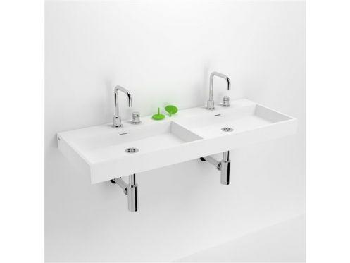 vasques accessoires lavabo double 110 cm washme r sine min ral blanc. Black Bedroom Furniture Sets. Home Design Ideas