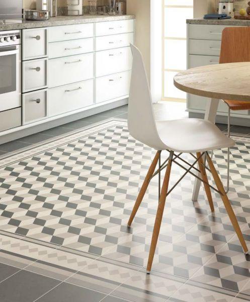 Carrelage sol salle de bain cuisine et terrasse c ciment imitation prove - Gres cerame imitation carreaux ciment ...