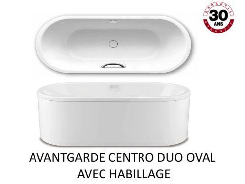 Baignoire 180 x 80 cm en acier maill kaldewei avantgarde centro duo oval avec habillage - Email de baignoire abime ...