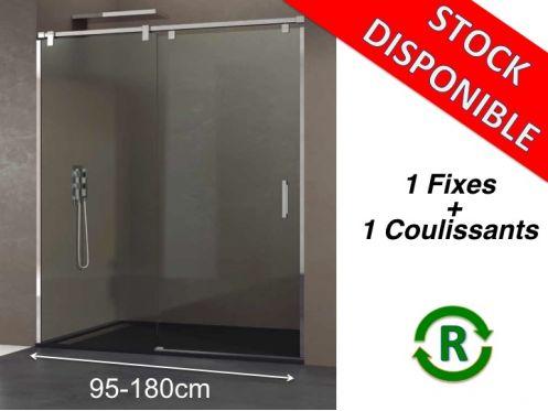 Paroi de douche accessoires longueur 95 180 cm porte de for Accessoire porte de douche coulissante