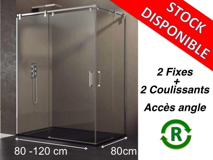 Paroi de douche accessoires largeur 80 longueur 80 120 cm porte de douche coulissante avec - Porte de douche d angle coulissante ...