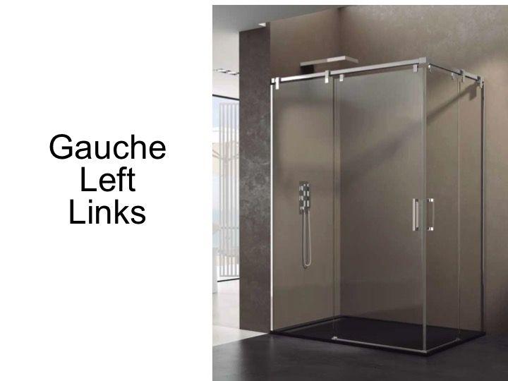 Paroi de douche accessoires largeur 90 longueur 90 120 for Porte coulissante miroir largeur 90