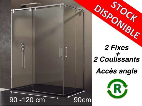 Paroi de douche accessoires largeur 90 longueur 90 120 - Porte coulissante 120 cm de large ...