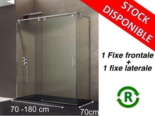 paroi de douche accessoires largeur 70 longueur 70 180 cm porte de douche coulissante avec 1. Black Bedroom Furniture Sets. Home Design Ideas