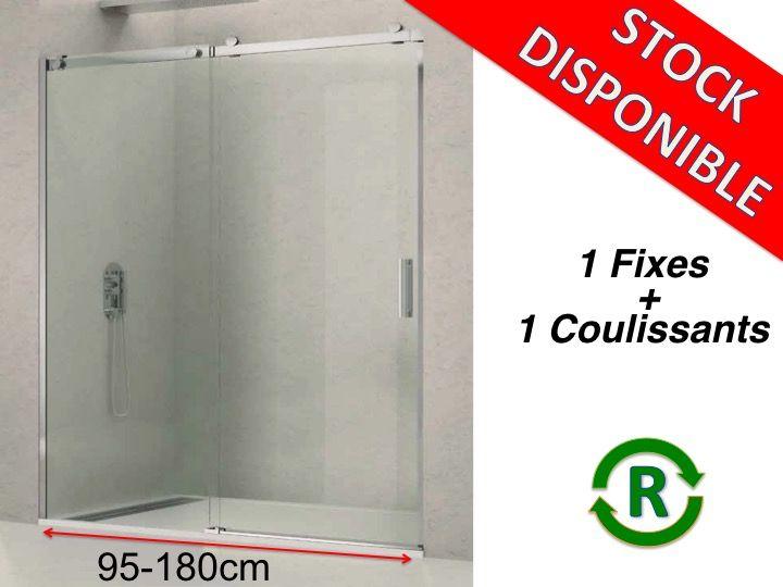 Paroi de douche accessoires longueur 95 180 cm porte de for Porte douche hauteur 175