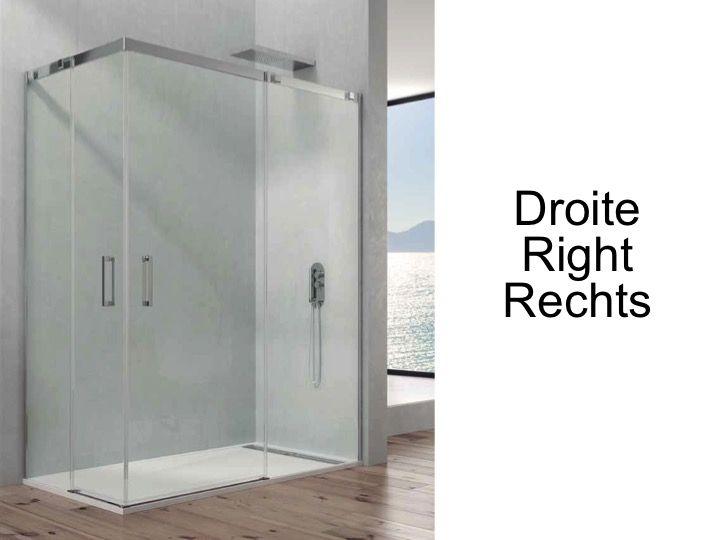 Paroi de douche accessoires largeur 90 longueur 90 140 cm porte de douche coulissante avec - Porte coulissante pour douche de 130 cm ...