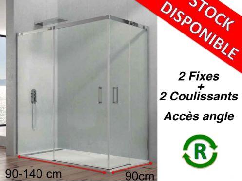 Paroi de douche accessoires largeur 90 longueur 90 140 cm porte de douche - Paroi de douche fixe 140 cm ...