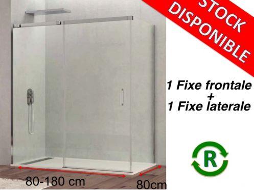 paroi de douche accessoires largeur 80 longueur 80 180 cm porte de douche coulissante avec 1. Black Bedroom Furniture Sets. Home Design Ideas