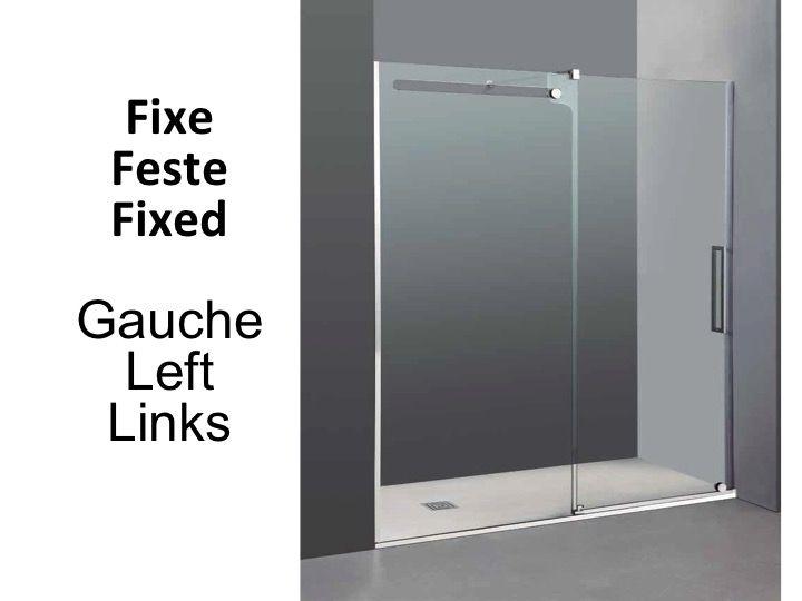 Paroi de douche accessoires longueur 113 182 cm porte for Porte de douche fixe