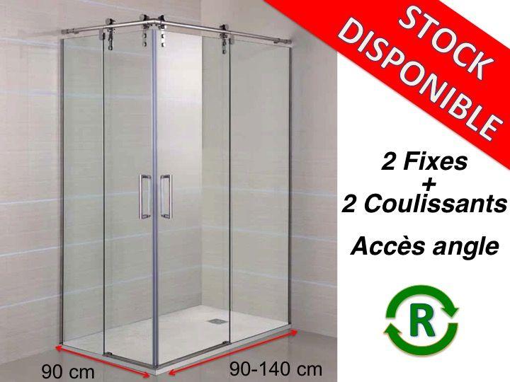 Paroi de douche accessoires largeur 90 longueur 90 140 for Porte douche coulissante 140 cm