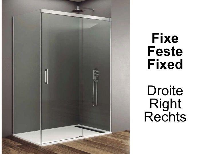 Paroi de douche accessoires largeur 80 longueur 80 180 for Porte de douche fixe
